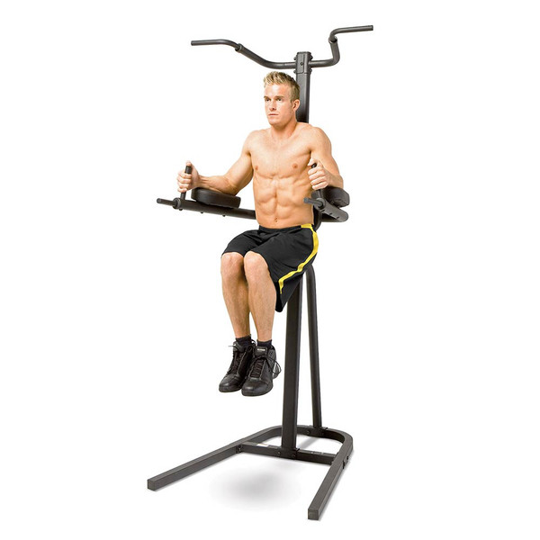 The Power Tower Fitness Station Dip, Chin-up, Pull-up Bar TC-1800 by Marcy in use - Vertical Knee Raises or VKR