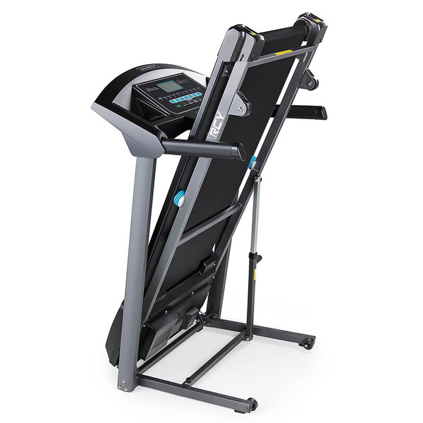 The Marcy Motorized Folding Treadmill JX-650W folds to save space