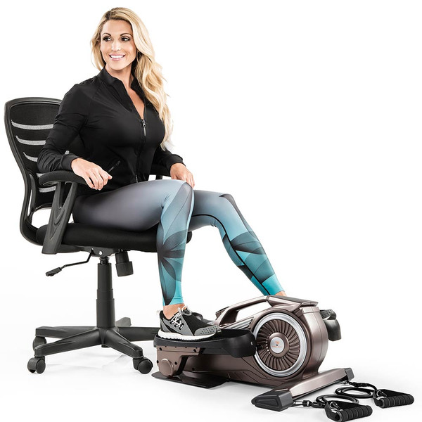 Bionic Body Compact Elliptical Trainer with Resistance Tubes in use by Kim Lyons while sitting