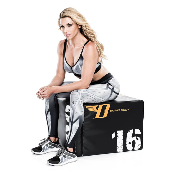 Kim Lyons with Bionic Body plyo box