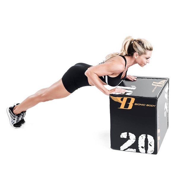 Bionic Body plyo box used by Kim Lyons to do inclined push ups to tone upper body