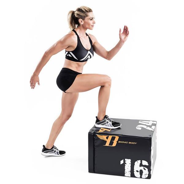 Bionic Body plyo box used by Kim Lyons to do step ups to build lower body strength