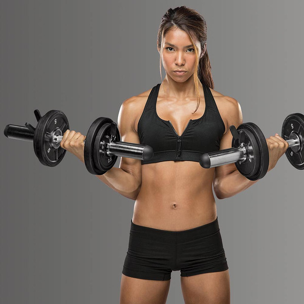 The Olympic Curl Bar ODC-21 in use by model - Biceps curls