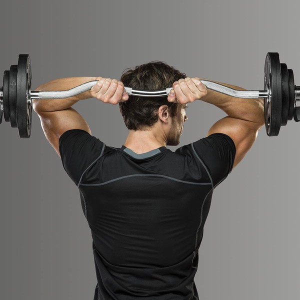 The Olympic Curl Bar ODC-21 in use by model - Triceps