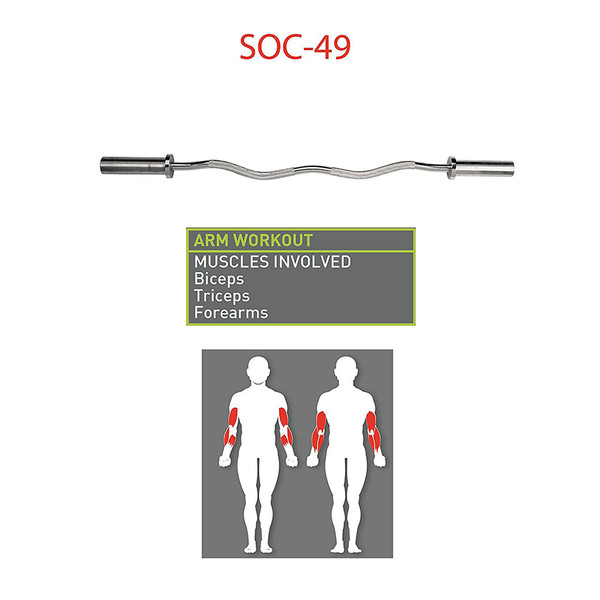 The Marcy Solid Steel Olympic Curl Bar - Chrome-Plated Weight Bar is ideal for your biceps triceps and forearms