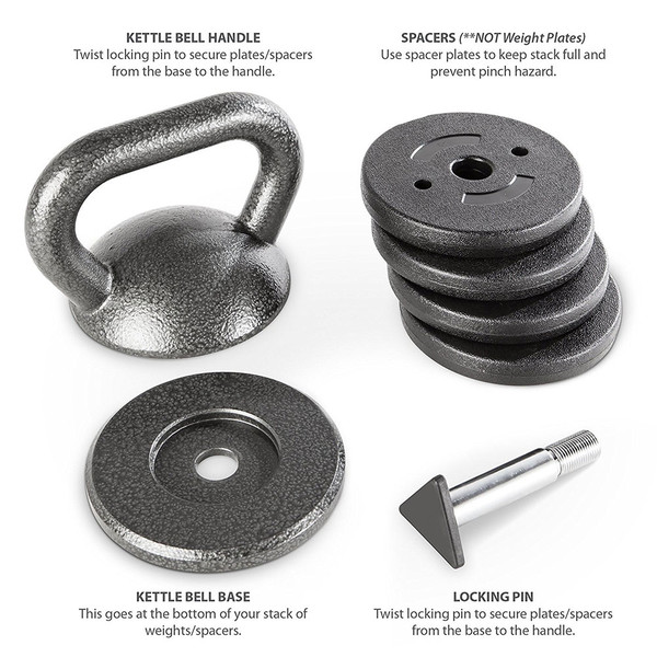 The pieces included with the 50 lbs. Apex Adjustable Kettle Bell