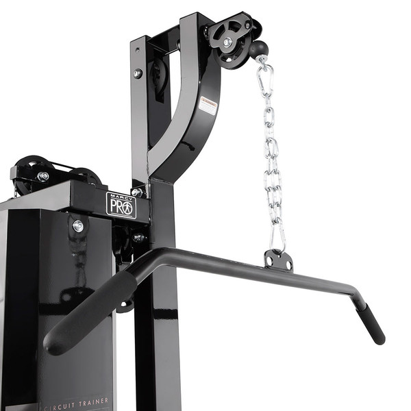 The Marcy Pro Two Station Home Gym PM-4510 includes a lat bar for back exercises