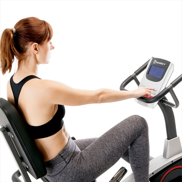 Model using the LCD computer display screen on the Regenerating Magnetic Recumbent Bike | Marcy ME-706