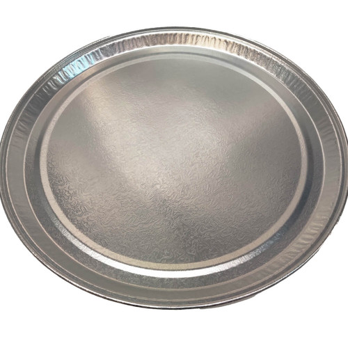 "D&W Fine Pack 16"" Flat Round Silver Tray"