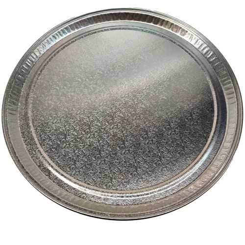 "Pactiv 18"" Flat Round Silver Tray"