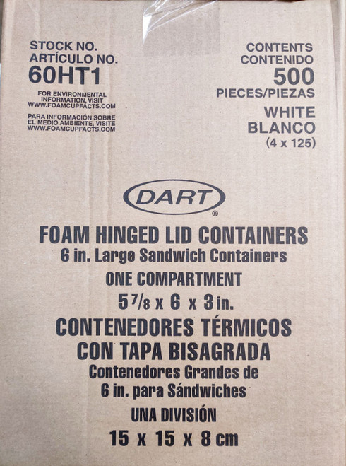 Dart Foam Hinged 6in Container - 500/ct