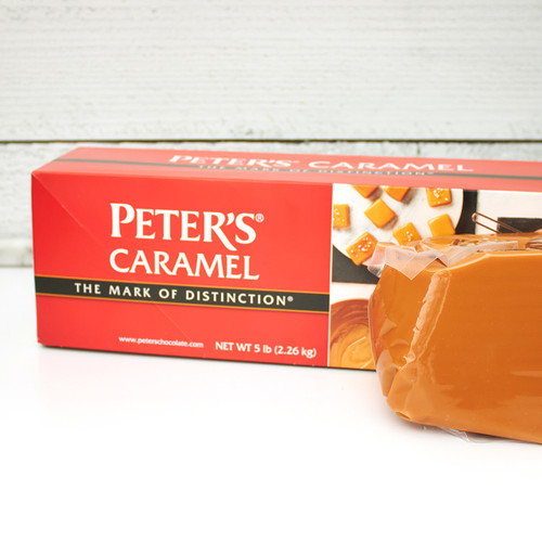 Peter's Caramel 5 LB Loaf Next To Packaging