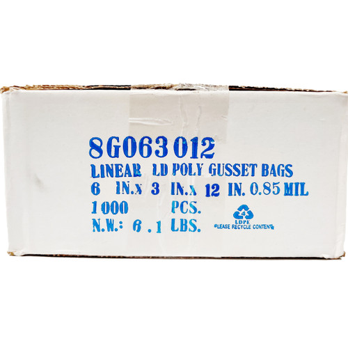 TUF-R® Heavy Linear Low Density Gusset Bag 6 x 3 x 12 Poly Bag