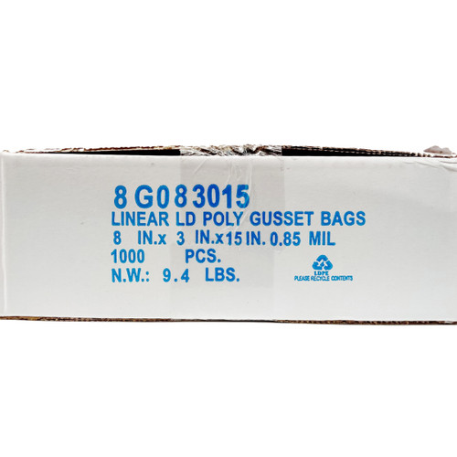 TUF-R® Heavy Linear Low Density Gusset Bag 8 x 3 x 15 Poly Bag