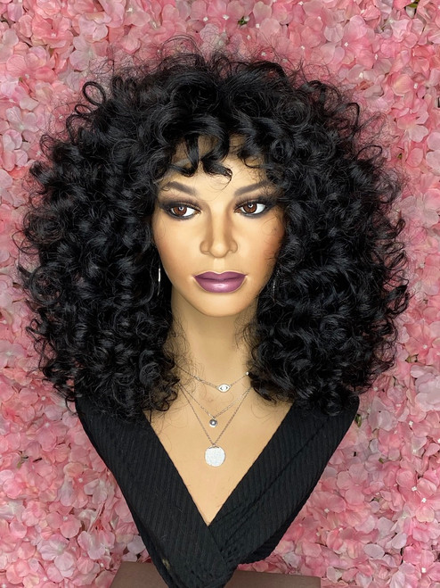 TreBella Wigs Custom closure unit 18in- Jet black