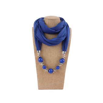 Azure blue crystal bead necklace scarf