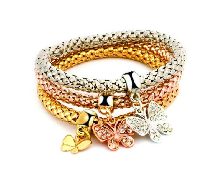 Glistering Tri-layered Bracelet with Butterfly hangings