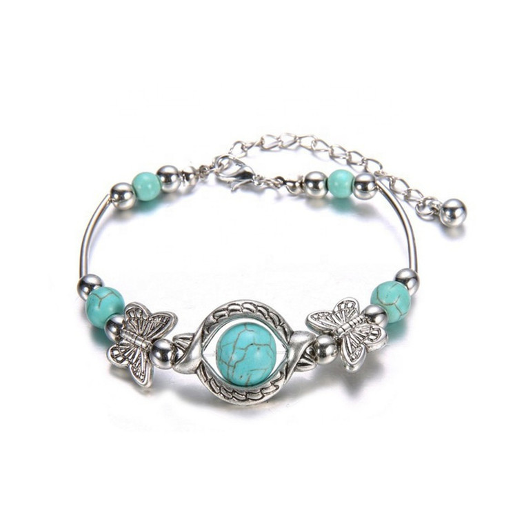 Butterfly Cuff Turquoise Bead Bracelet