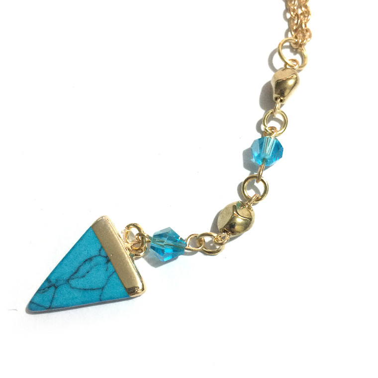 Triangular Turquoise Beaded Pendant with Chain