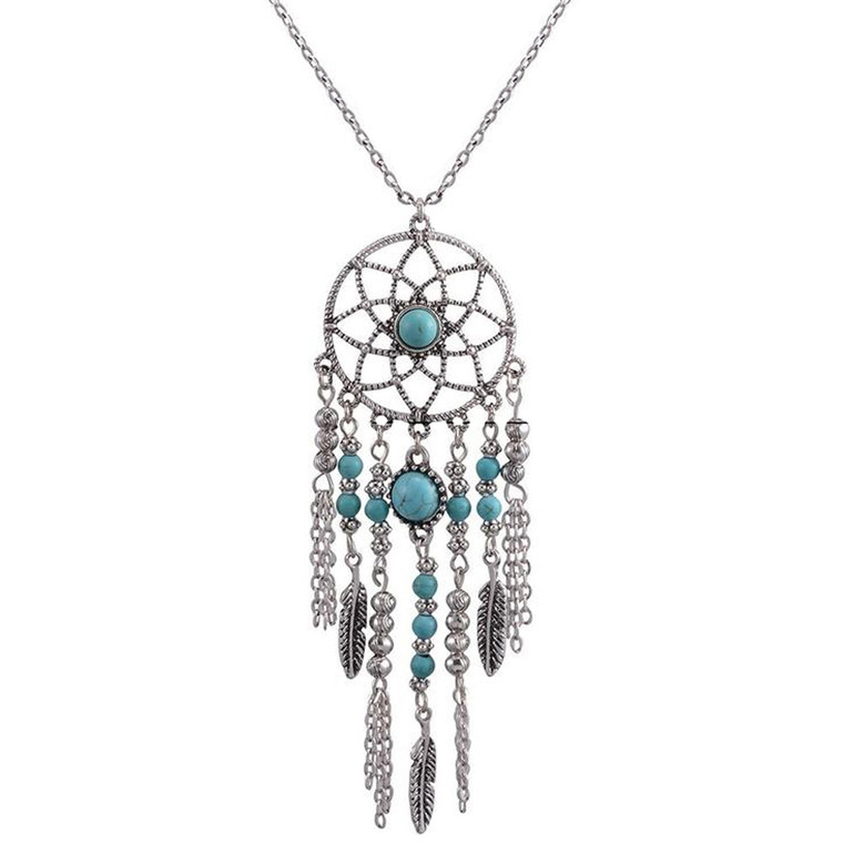 Chandelier styled Long Turquoise Necklace