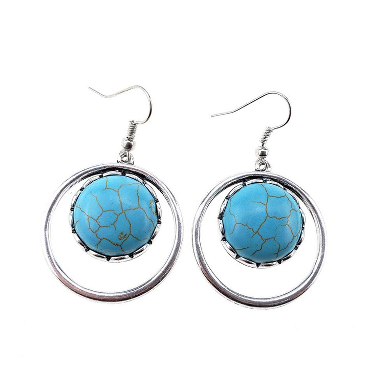 Turquoise Stone Round Ball Earrings