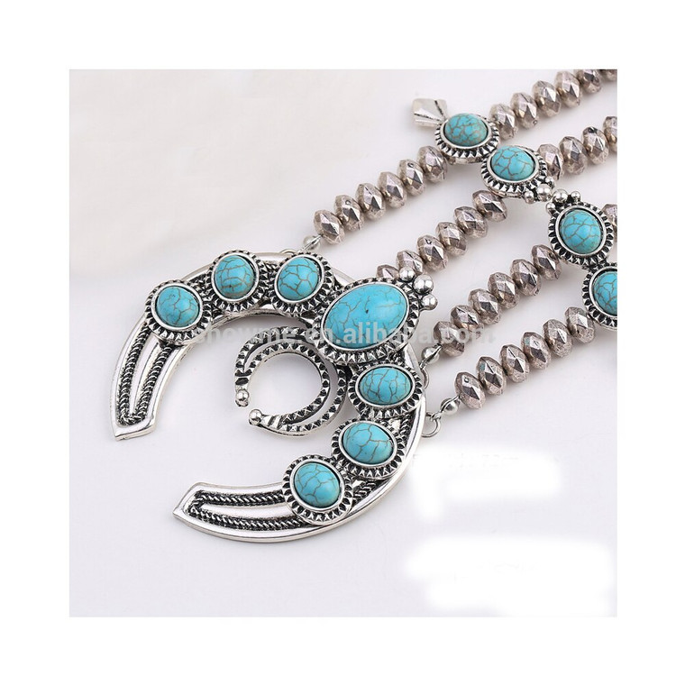 Turquoise Blossom Antique Alloy Necklace