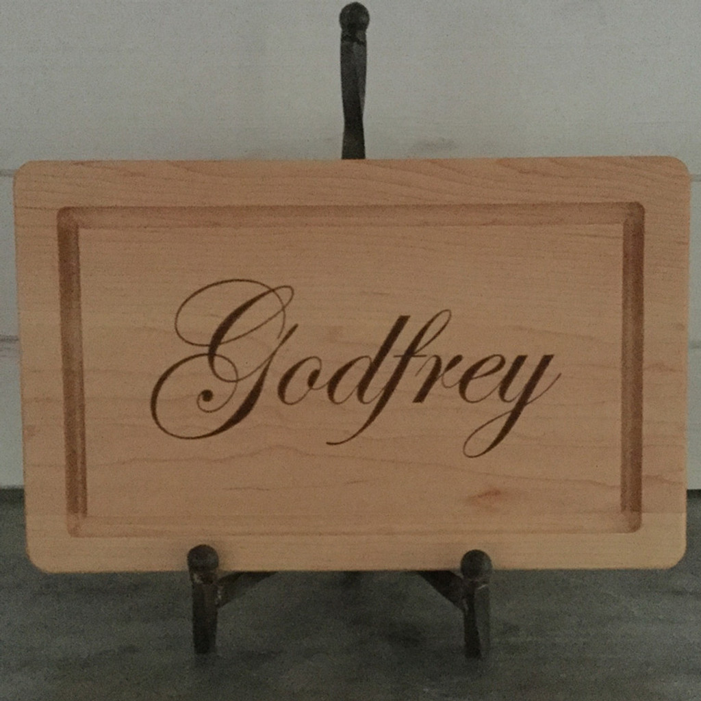 "10"" x 16"" Cutting Board Engraved with Last Name"