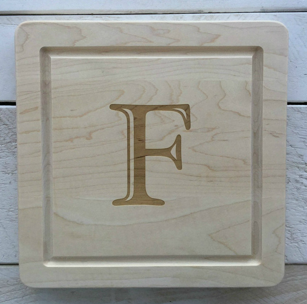 """12"""" Square Board Engraved with Single Letter"""