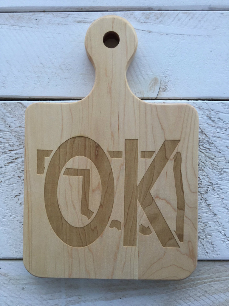 "Serving Board with Round Handle - ""OK"""
