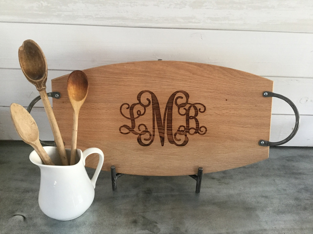 Oak Serving Tray Engraved with 3 Letter Monogram