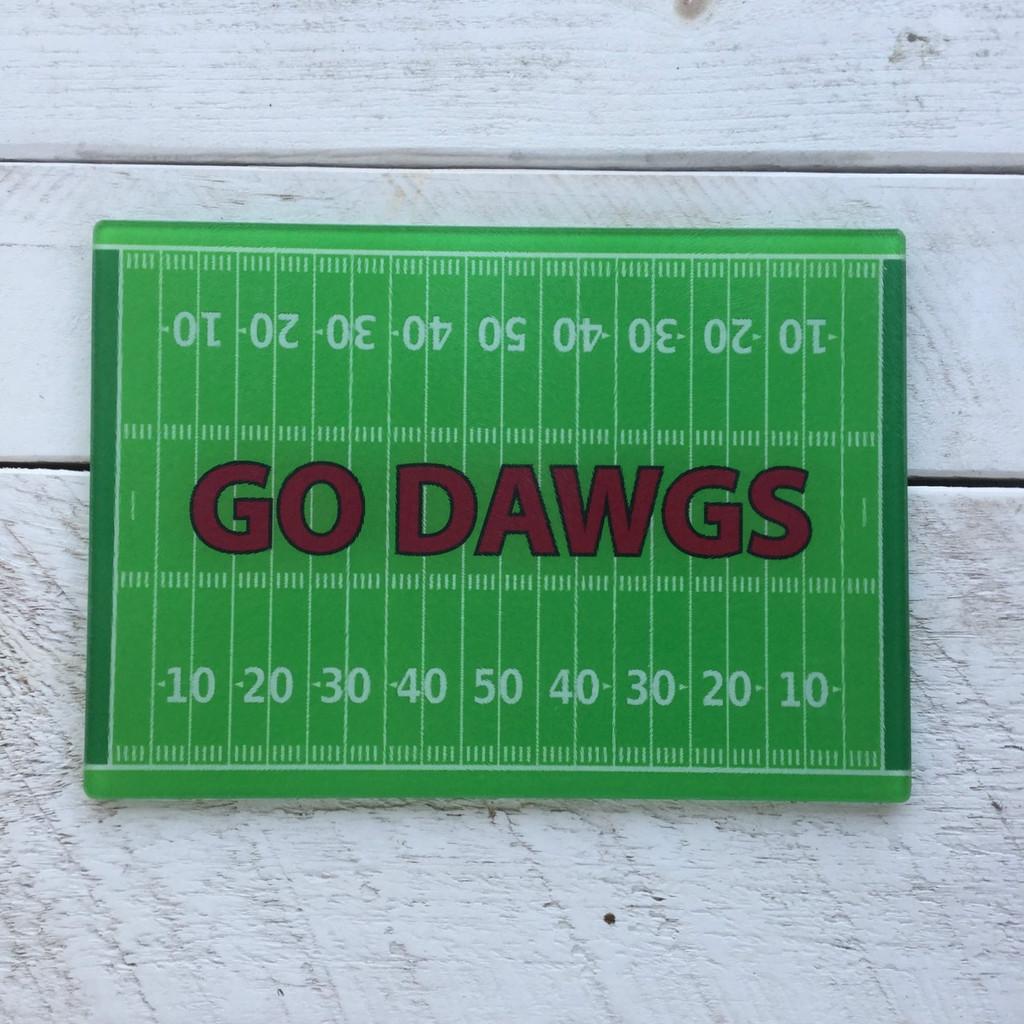 """""""Go Dawgs"""" Glass Cutting Board"""