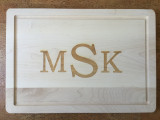 "14"" x 20"" Cutting Board Engraved with 3 Letters"