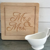 """12"""" Square Board Engraved with """"Mr. & Mrs."""" in Script Font"""