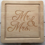 "12"" Square Board Engraved with ""Mr. & Mrs."" in Script Font"