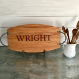 Oak Serving Tray Engraved with Single Last Name
