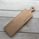 "Bread Board with Round Handle ""Life Happens - Coffee Helps"""