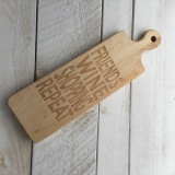 "Bread Board with Round Handle ""Friends Wine Shopping Repeat"""