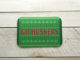 """Go Huskers"" Glass Cutting Board"