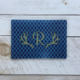 """Bailey"" 1 Letter Monogram with Antlers Glass Cutting Board"
