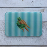 """Peas and Carrots"" Pinstripe Glass Cutting Board"