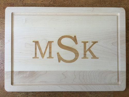 """14"""" x 20"""" Cutting Board Engraved with 3 Letters"""