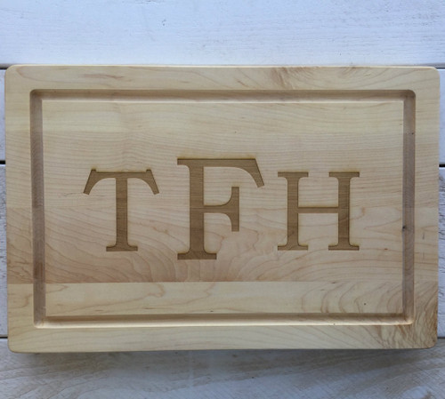 "12"" x 18"" Cutting Board Engraved with 3 Letters"
