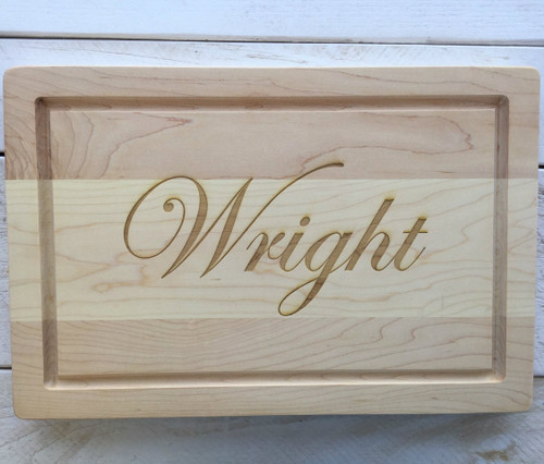 "12"" x 18"" Cutting Board with Engraved Last Name"