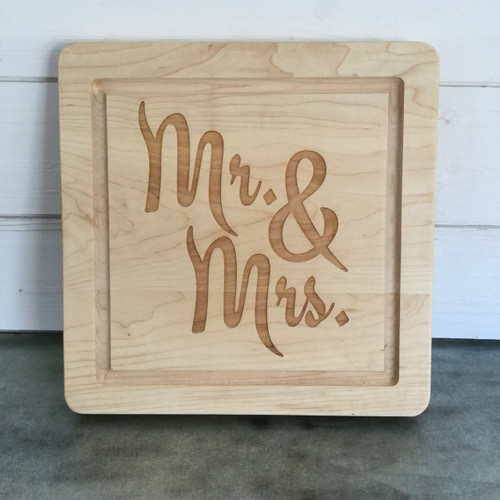 "12"" Square Board Engraved with ""Mr. & Mrs."" in Engagement Font"
