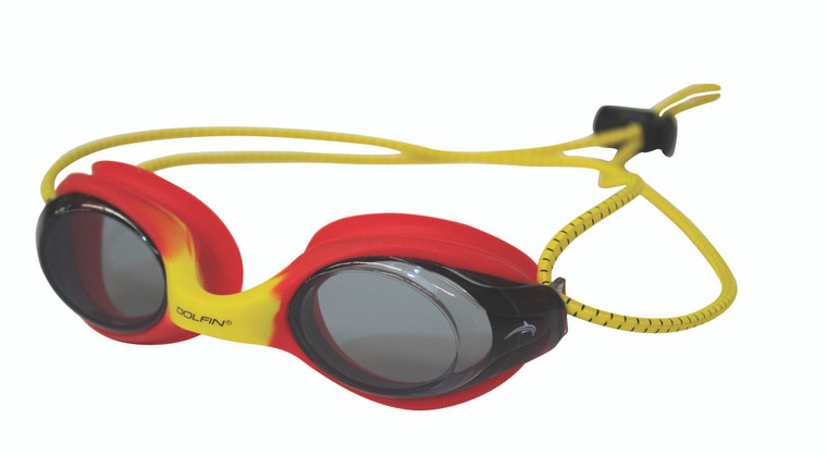 PRODUCT DETAILS Get the longest lasting goggles on the market with the Bungee Racer Black/Black Goggle. Quickly adjusts for a perfect seal and excellent wide range vision.  Features & Benefits: Black lenses and bungee cord with black silicone seal Low Profile Racing Design Integrated Silicone Overmold Gasket for Exceptional Low-Drag Split Flatline™ Headstrap for Closest Secure Fit 3 Interchangeable Nose Bridges UVA & UVB Protection Anti-Fog FINA Approved Let the bungee cord keep your goggles secure with the Bungee Racer Goggle!