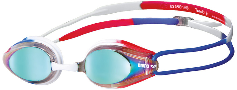 arena's Tracks Jr Mirror goggles are a high-tech competition design for young racers. The hard lenses have a reflective coating to protect eyes from glare when swimming outdoors or in well-lit pools. Treated for anti-fog and UV protection, these goggles are fitted with soft silicone seals that keep water out.  They have a dual strap and interchangeable nose bridges to adjust perfectly to your aspiring swim star's face. Long-lasting comfort and a clear view underwater make this no-fuss goggle our choice for kids.