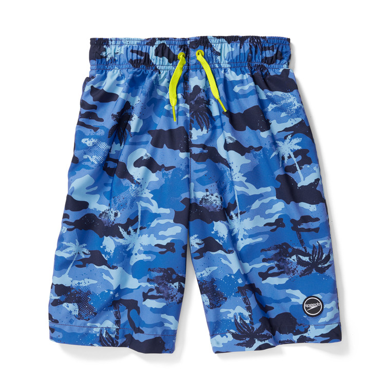 """A camo-meets-beach print gives this volley instant cool factor young swimmers will love. Its water-repellent fabric features comfort stretch so he can play around distraction free and is finished with Block the Burn UPF 50+ for sun safety.  Length: 8"""" Inseam, 17"""" Outseam Block the Burn: UPF 50+ protection blocks up to 98% of the sun's harmful rays Comfort Stretch: Added stretch for increased comfort and movement Mesh basket liner 100% POLYESTER (2WAY STRETCH)"""