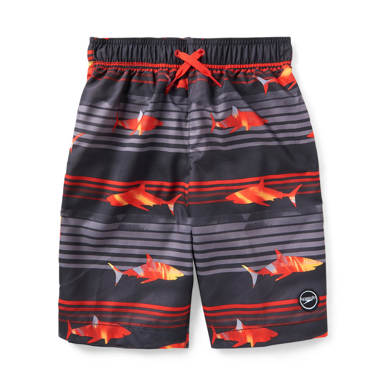 """Swimming with the fishes. This shark-print volley is ready for adventure, with water-repellent stretch fabric featuring Block the Burn UPF 50+ for sun safety. A built-in boxer brief provides added comfort as he plays.  Length: 8"""" Inseam, 17"""" Outseam Block the Burn: UPF 50+ protection blocks up to 98% of the sun's harmful rays Comfort Stretch: Added stretch for increased comfort and movement Built-in 2"""" comfort liner Patch pocket 100% POLYESTER (2WAY STRETCH)"""