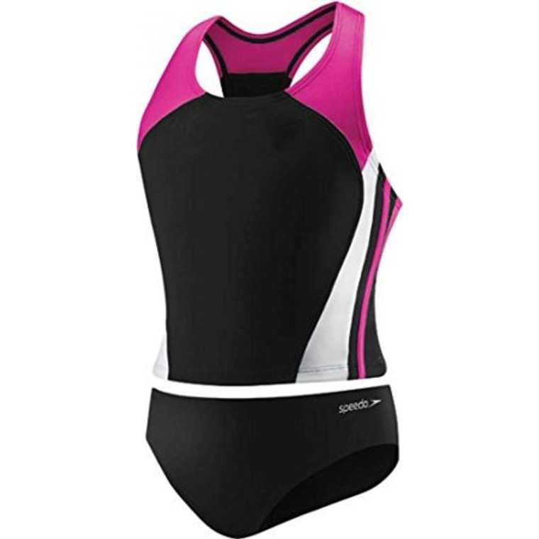 Features Speedo Big Girls' Solid Infinity Splice Tankini Swimsuit, Deep Water, 12Speedo equals better fit, performance, quality, and innovation. The girl's 7-16 infinity splice tankini is a great 2 piece athletic style with thick racerback straps for a secure fit that won't bind or gap. But the bold team inspired colorblock splicing makes this suit as much about fashion as it is about function. The suit features trademarked xtra life lycra which lasts 5 to 10 times longer than traditional lycra. So no bag and sag, and it looks like new for longer. It also offers our new no wedgie worries technology, which adds a thin silicone gripper at the inner edge of the bottom to keep the suit in place during activities. Look and feel your best in or out of the water, while you play, train or win in speedo, the choice of champions.