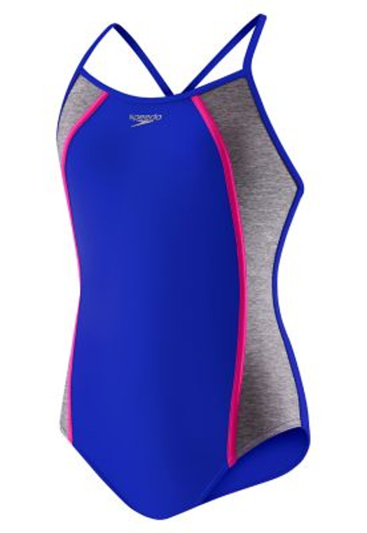Swim in a bathing suit that stays put. The Speedo Girls Heather Splice One Piece Swimsuit features a sporty back to keep straps from moving around and grippers on the bottom to prevent any riding up. Plus, bright, popping colors contrast nicely with heather striping for a look you ll enjoy wearing.  Fabric & Care Hand wash and hang dry. Water-resistant. Superior chlorine-resistant Creora Highclo fabric for longer lasting fit and comfort. Cyan and Radiant Blue colors: 80% Nylon, 20% Creora Highclo Spandex. Electric Pink color: 82% Polyester, 18% Spandex. Details Girls one piece swimsuit. Thin straps. Scoop neckline. Sporty Y-back with cutout beneath straps stays in place. Silicone gripper along bottom edge prevents riding up. Logo on upper center chest. Color blocked styling. Sizing & Fit Fixed straps. Conservative back coverage. Full bottom coverage. Sized for ages 7-16. Country of Origin Imported.